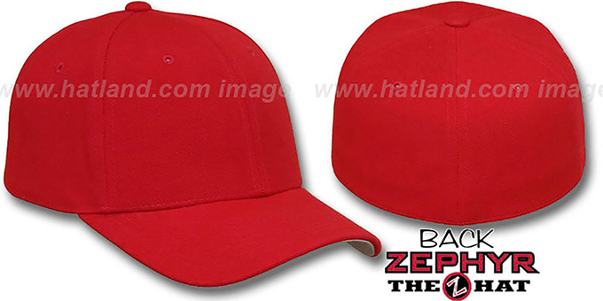 Blank 'Z-FIT RED' Hat by Zephyr : pictured without stickers that these products are shipped with