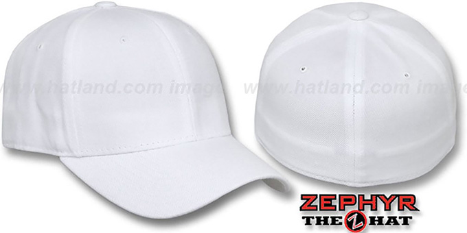 Blank 'Z-FIT WHITE' Hat by Zephyr : pictured without stickers that these products are shipped with