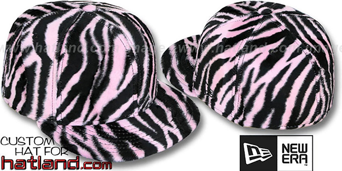 Blank 'ZEBRA PIMPIN-FUR' Pink-Black Fitted Hat by New Era : pictured without stickers that these products are shipped with