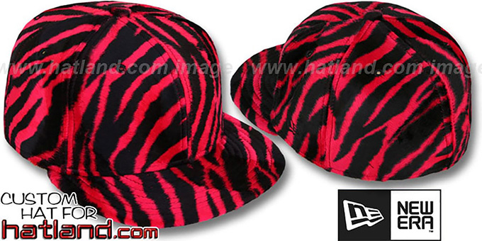 Blank 'ZEBRA PIMPIN-FUR' Red-Black Fitted Hat by New Era : pictured without stickers that these products are shipped with