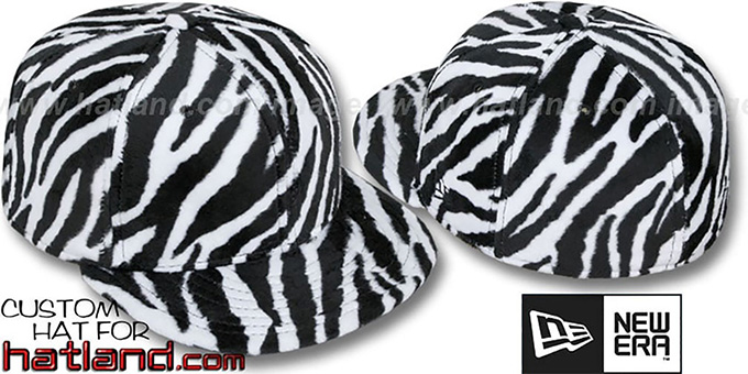 Blank 'ZEBRA PIMPIN-FUR' White-Black Fitted Hat by New Era : pictured without stickers that these products are shipped with