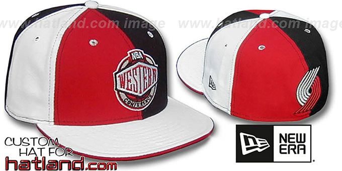 Blazers CONFERENCE 'PINWHEEL' Red-Black-White Fitted Hat : pictured without stickers that these products are shipped with