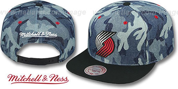 Blazers 'DENIM-CAMO SNAPBACK' Blue Hat by Mitchell and Ness : pictured without stickers that these products are shipped with