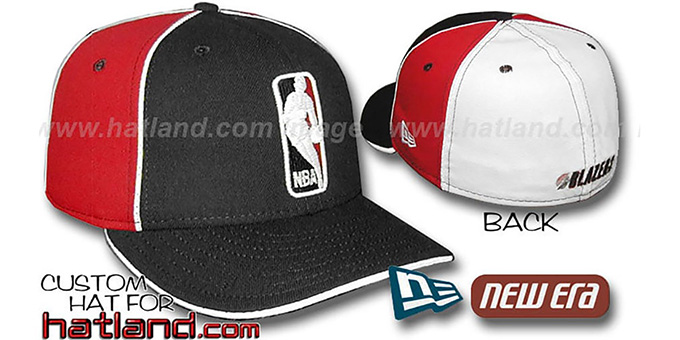 Blazers 'LOGOMAN-2' Black-Red-White Fitted Hat by New Era : pictured without stickers that these products are shipped with