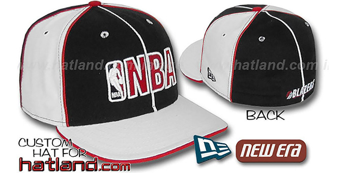 Blazers NBA 'PINWHEEL-3' Black-White Fitted Hat by New Era : pictured without stickers that these products are shipped with