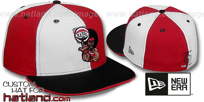 Blazers 'RETRO MAN PINWHEEL' White-Red Fitted Hat : pictured without stickers that these products are shipped with