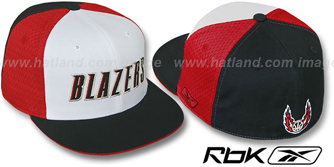 Blazers 'SWINGMAN' White-Red-Black Fitted Hat by Reebok : pictured without stickers that these products are shipped with