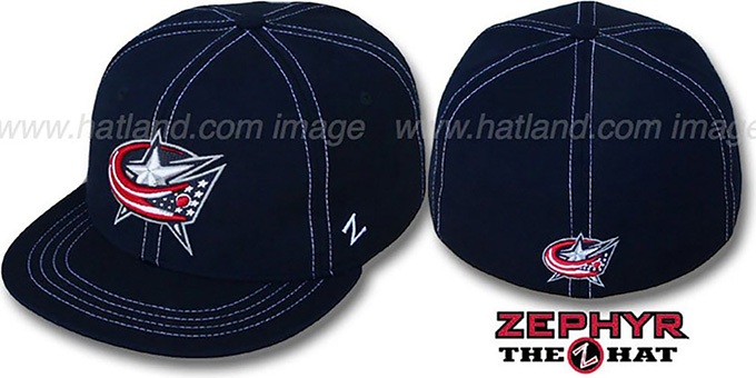 Blue Jackets 'CONTRAST THREAT' Navy Fitted Hat by Zephyr : pictured without stickers that these products are shipped with