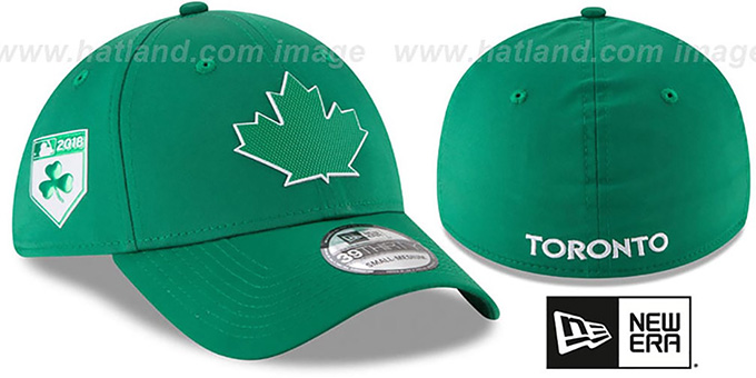 Blue Jays '2018 ST PATRICKS DAY FLEX' Hat by New Era : pictured without stickers that these products are shipped with