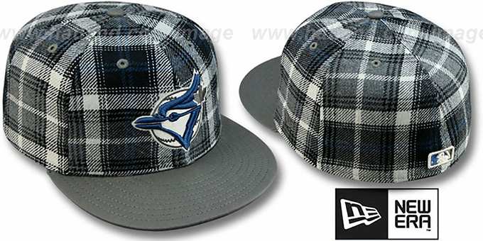 Blue Jays '2T ALT PLAIDZ' Grey Fitted Hat by New Era : pictured without stickers that these products are shipped with