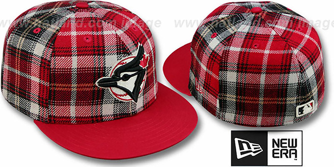 Blue Jays '2T ALT PLAIDZ' Red Fitted Hat by New Era : pictured without stickers that these products are shipped with