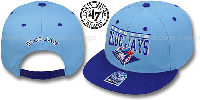 Blue Jays '2T COOP HOLDEN SNAPBACK' Adjustable Hat by Twins 47 Brand : pictured without stickers that these products are shipped with