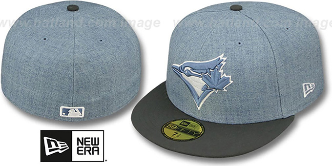 Blue Jays '2T-HEATHER' Blue-Grey Fitted Hat by New Era : pictured without stickers that these products are shipped with