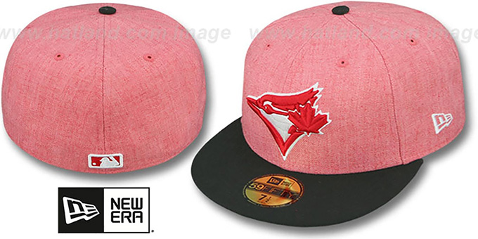 Blue Jays '2T-HEATHER' Red-Black Fitted Hat by New Era : pictured without stickers that these products are shipped with