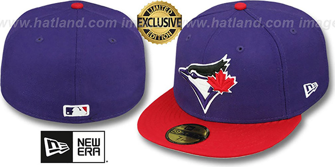 Blue Jays '2T OPPOSITE-TEAM' Purple-Red Fitted Hat by New Era : pictured without stickers that these products are shipped with