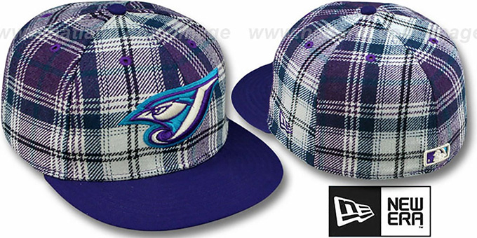 Blue Jays '2T PLAIDZ' Purple Fitted Hat by New Era : pictured without stickers that these products are shipped with