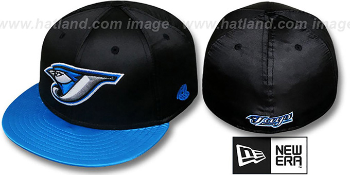 Blue Jays '2T SATIN CLASSIC' Black-Blue Fitted Hat by New Era : pictured without stickers that these products are shipped with
