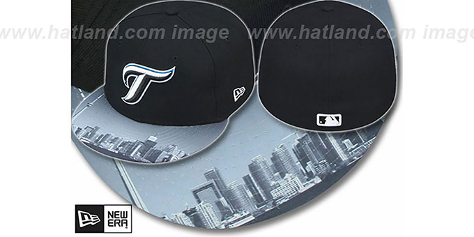 Blue Jays ALT 'CITY-SCAPE VIZA' Black Fitted Hat by New Era : pictured without stickers that these products are shipped with