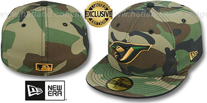 Blue Jays 'ARMY CAMO' Fitted Hat by New Era : pictured without stickers that these products are shipped with