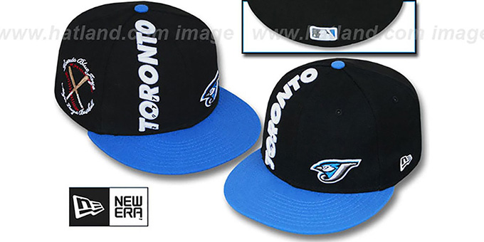 Blue Jays 'BEELINE' Black-Blue Fitted Hat by New Era : pictured without stickers that these products are shipped with