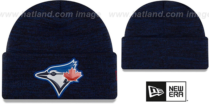 Blue Jays 'BEVEL' Royal-Black Knit Beanie Hat by New Era : pictured without stickers that these products are shipped with