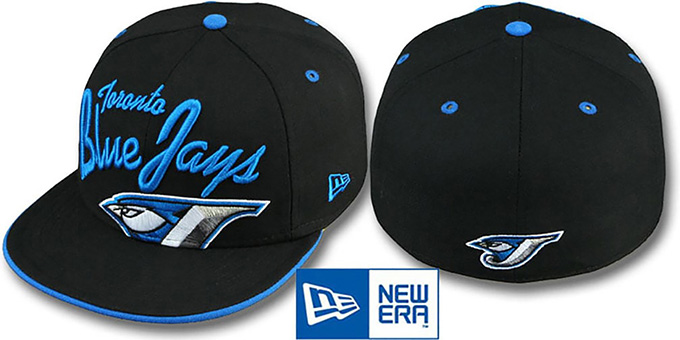 Blue Jays 'BIG-SCRIPT' Black Fitted Hat by New Era : pictured without stickers that these products are shipped with