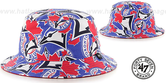 Blue Jays 'BRAVADO BUCKET' Hat by Twins 47 Brand : pictured without stickers that these products are shipped with