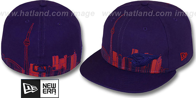 Blue Jays 'CITY DEEP-SKYLINE' Purple-Purple-Red Fitted Hat by New Era : pictured without stickers that these products are shipped with