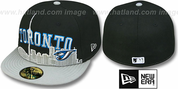Blue Jays 'CITY-LINE' Black-Grey Fitted Hat by New Era : pictured without stickers that these products are shipped with