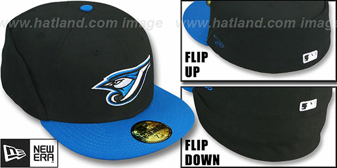 Blue Jays 'CLEAN CUT FLIP-DOWN' Black-Blue Fitted Hat by New Era : pictured without stickers that these products are shipped with