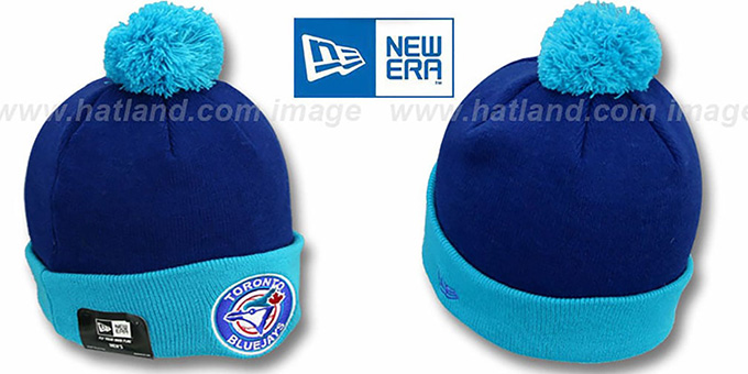Blue Jays COOP 'CIRCLE' Royal-Sky Knit Beanie Hat by New Era : pictured without stickers that these products are shipped with