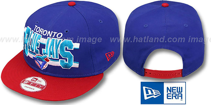 Blue Jays COOP 'WORDSTRIPE SNAPBACK' Royal-Red Hat by New Era : pictured without stickers that these products are shipped with