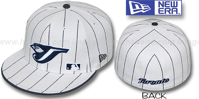 Blue Jays 'FABULOUS' White-Navy Fitted Hat by New Era : pictured without stickers that these products are shipped with