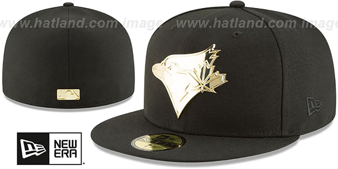 83e88933f76 Toronto Blue Jays GOLDEN-BADGE Black Fitted Hat by New Era