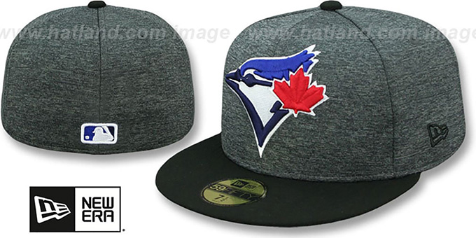 Blue Jays 'HEATHER-HUGE' Grey-Black Fitted Hat by New Era : pictured without stickers that these products are shipped with
