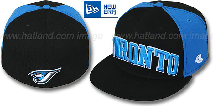 Blue Jays 'JMACK ARCH' Black-Blue Fitted Hat by New Era : pictured without stickers that these products are shipped with