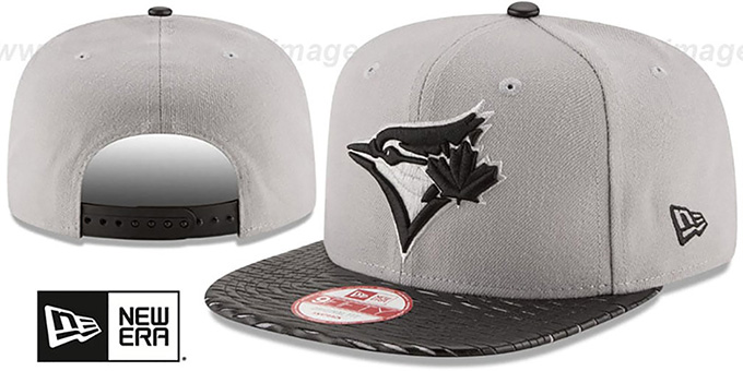 Blue Jays 'LEATHER-RIP SNAPBACK' Grey-Black Hat by New Era : pictured without stickers that these products are shipped with