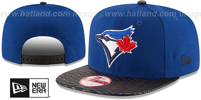 Blue Jays 'LEATHER-RIP SNAPBACK' Royal-Black Hat by New Era : pictured without stickers that these products are shipped with