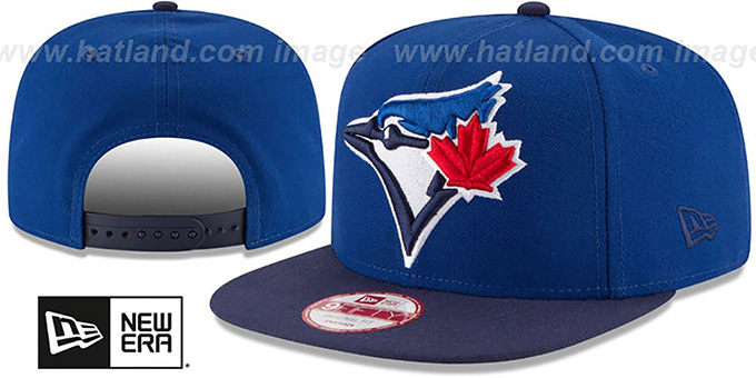Blue Jays 'LOGO GRAND REDUX SNAPBACK' Royal-Navy Hat by New Era : pictured without stickers that these products are shipped with