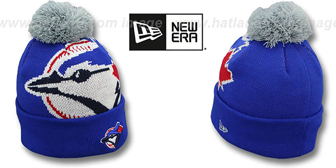 Blue Jays 'MLB-BIGGIE' Royal Knit Beanie Hat by New Era : pictured without stickers that these products are shipped with