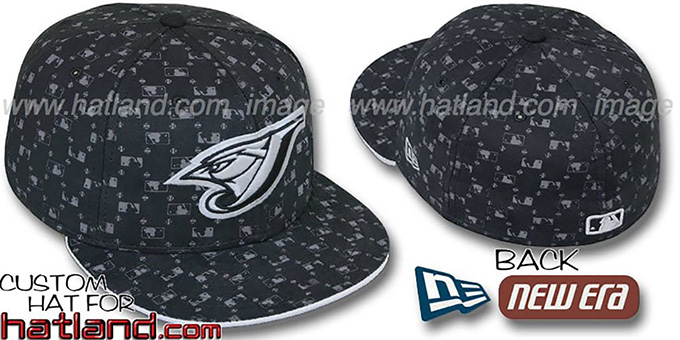 Blue Jays 'MLB FLOCKING' Black Fitted Hat by New Era : pictured without stickers that these products are shipped with