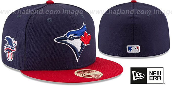 Blue Jays 'MLB WOOL-STANDARD' Navy-Red Fitted Hat by New Era : pictured without stickers that these products are shipped with