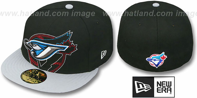 Blue Jays 'NEW MIXIN' Black-Grey Fitted Hat by New Era : pictured without stickers that these products are shipped with
