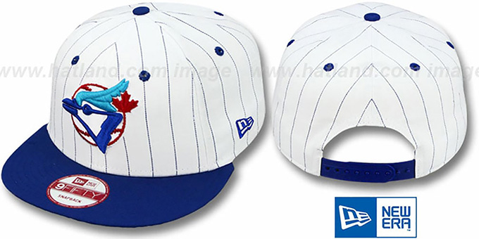 Blue Jays 'PINSTRIPE BITD SNAPBACK' White-Royal Hat by New Era : pictured without stickers that these products are shipped with