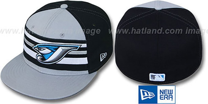 Blue Jays 'PREMIUM' Grey-Black Fitted Hat by New Era : pictured without stickers that these products are shipped with