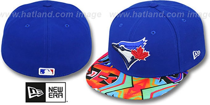 Blue Jays 'REAL GRAFFITI VIZA-PRINT' Royal Fitted Hat by New Era : pictured without stickers that these products are shipped with