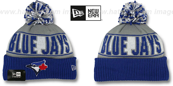 Blue Jays 'REP-UR-TEAM' Knit Beanie Hat by New Era : pictured without stickers that these products are shipped with