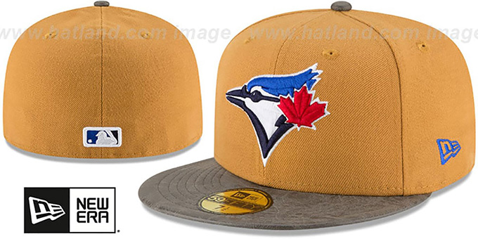 Blue Jays 'RUSTIC-VIZE' Wheat-Grey Fitted Hat by New Era : pictured without stickers that these products are shipped with