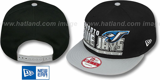 Blue Jays 'SLICE-N-DICE SNAPBACK' Black-Grey Hat by New Era : pictured without stickers that these products are shipped with