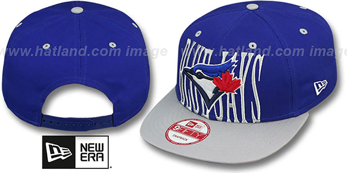 Blue Jays 'STEP-ABOVE SNAPBACK' Royal-Grey Hat by New Era : pictured without stickers that these products are shipped with